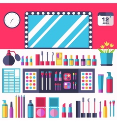 Flat women makeup cosmetics lying on the table vector