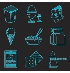 Diet menu blue line icons set vector