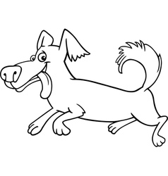 Running little dog cartoon for coloring vector