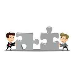 People move puzzle pieces vector