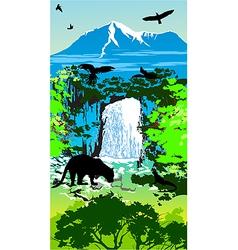 Jungle waterfall vector