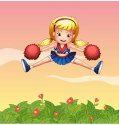 A cheerleader in the garden vector