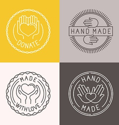 Hand made labels and badges vector
