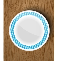 Set of white dishes on a wooden vector