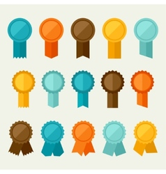 Set of colored badges labels awards in flat design vector