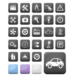 Auto mechanic and service buttons vector