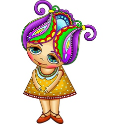 Ornate fantasy cartoon little girl vector