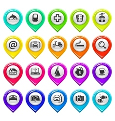 Map marker with icons-set four vector