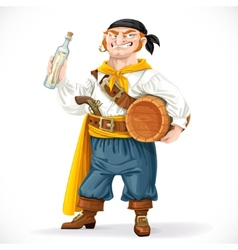 Cute pirate with a barrel of rum and a bottle with vector