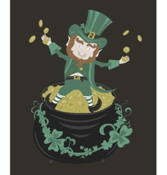 Saint patrick playing with golden coins vector