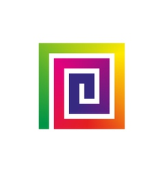 Square rainbow spiral vector