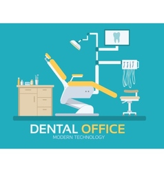 Flat dentist office design background vector
