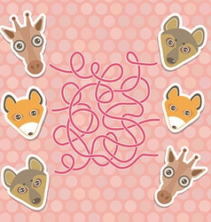 Funny giraffe fox wolf labyrinth game for vector
