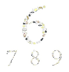 Decorative numbers with food element numbers 6 7 8 vector