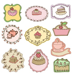 Set of cute cake tags vector