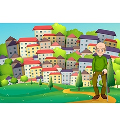 A grandfather at the hilltop across the village vector
