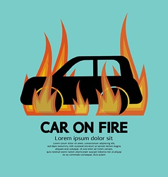 Car on fire vector