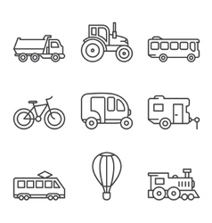 Transport icons simple and thin line vector
