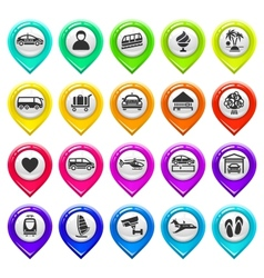 Map marker with icons-set six vector