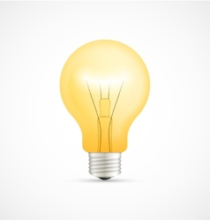 Realistic glowing yellow light bulb vector