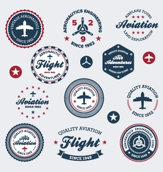 Vintage aeronautics labels vector