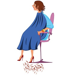 Cartoon woman in blue robe with new haircut vector