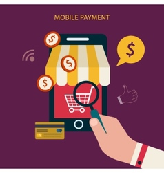 Mobile payment concept with flat icons vector