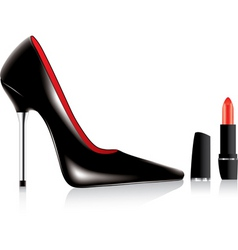 high heel shoe and a lipstick vector