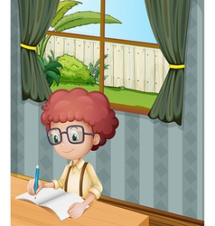 A young boy writing inside the house vector
