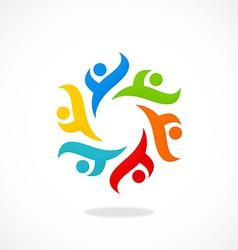 Circular people diversity logo vector
