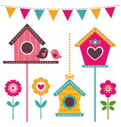 Bird houses set vector