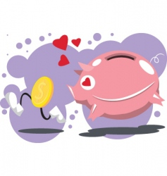Pig-love-coins vector