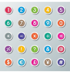 Numbers 0 to 9 and symbols vector