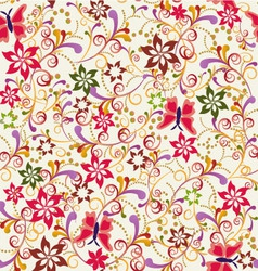 Abstract seamless pattern butterfly and flower vector