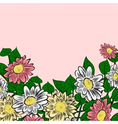 Hand-drawn colorful flowers vector