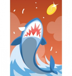 Shark-eat-coin vector