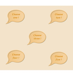 Five speak bubbles - choose one two three four vector