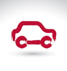 Hand drawn red car icon brush drawing passenger vector