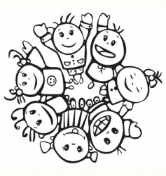 Happy children of different races vector