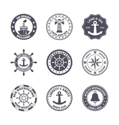 Sea port label set vector