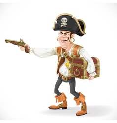 Cute pirate take aim a pistol and cuddle chest vector