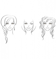 Faces women's vector