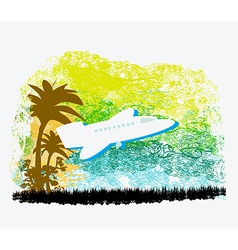Airplane with palm of tropics vector