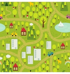Cartoon map of small town and countryside vector