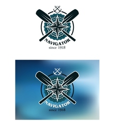 Marine navigator emblem or badge vector