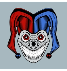 Evil clown in colored cap vector