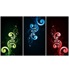 Red green and blue flourishes vector
