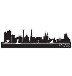 Samara russia city skyline detailed silhouette vector