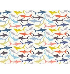 Seamless pattern of hand-drawn sharks silhouettes vector