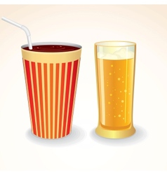 Fast food drinks icon cola cup and glass of beer vector